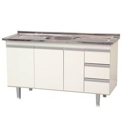 Gabinete para Cozinha em Madeira Siena 145x66cm Branco - Bonatto