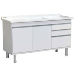 Gabinete para Cozinha em Mdf Ferrara 150x70cm Branco - Irmãos Corso