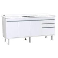 Gabinete para Cozinha em Mdf Ferrara 200x70cm Branco - Irmãos Corso