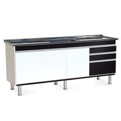 Gabinete para Cozinha em Mdf Ferrara 200x70cm Preto - Irmãos Corso