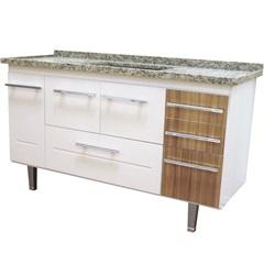 Gabinete para Cozinha em Mdf Life 150cm Branco E Nogal - Bonatto