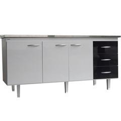 Gabinete para Cozinha em Mdf Milano 180cm Branco E Preto - Bonatto