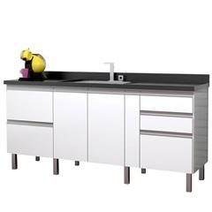 Gabinete para Cozinha em Mdf Tupã 174cm Branco E Preto - Cozimax