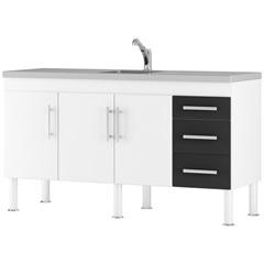Gabinete para Cozinha em Mdp Flex 144x80cm Branco E Preto - MGM Móveis