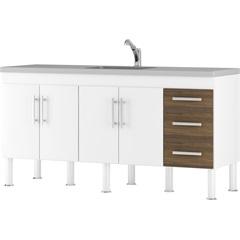 Gabinete para Cozinha em Mdp Flex 174x80cm Branco E Castanho - MGM Móveis