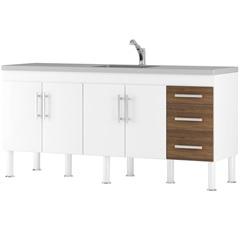 Gabinete para Cozinha em Mdp Flex 194x80cm Branco E Castanho - MGM Móveis