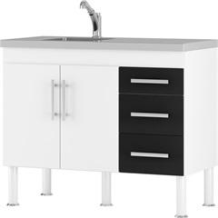 Gabinete para Cozinha em Mdp Flex 80x114cm Branco E Preto - MGM Móveis