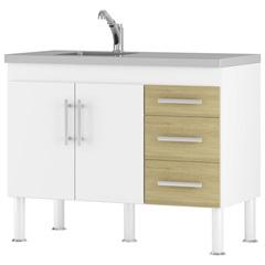 Gabinete para Cozinha em Mdp Flex 80x94cm Branco E Nogueira - MGM Móveis