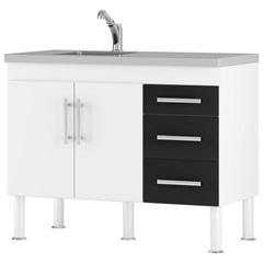 Gabinete para Cozinha em Mdp Flex 80x94cm Branco E Preto - MGM Móveis