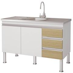 Gabinete para Cozinha em Mdp Ibiza 80x113,5cm Branco E Nogueira - MGM Móveis