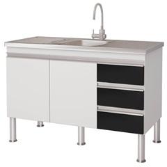 Gabinete para Cozinha em Mdp Ibiza 80x113,5cm Branco E Preto - MGM Móveis