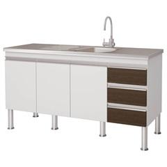 Gabinete para Cozinha em Mdp Ibiza 80x143,5cm Branco E Castanho - MGM Móveis