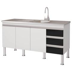 Gabinete para Cozinha em Mdp Ibiza 80x143,5cm Branco E Preto - MGM