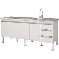 Gabinete para Cozinha em Mdp Ibiza 80x173,5cm Branco - MGM Móveis
