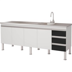 Gabinete para Cozinha em Mdp Ibiza 80x193,5cm Branco E Preto - MGM Móveis
