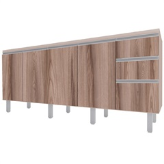 Gabinete para Cozinha em Mdp Potira para Pia de 180cm Nude E Tamarindo - Cozimax