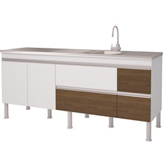 Gabinete para Cozinha em Mdp Prisma 193,5x86cm Branco E Castanho - MGM Móveis