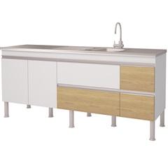 Gabinete para Cozinha em Mdp Prisma 193,5x86cm Branco E Nogueira - MGM Móveis