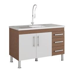 Gabinete para Cozinha Flex 80x114cm Amêndoa E Branco - MGM Móveis