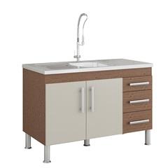 Gabinete para Cozinha Flex 80x114cm Amêndoa E Off White - MGM Móveis