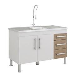 Gabinete para Cozinha Flex 80x114cm Branco E Carvalho - MGM Móveis