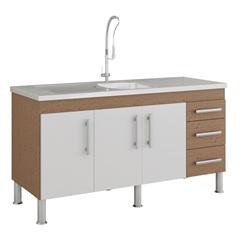 Gabinete para Cozinha Flex 80x144cm Amêndoa E Branco - MGM