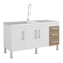 Gabinete para Cozinha Flex 80x144cm Branco E Carvalho - MGM Móveis