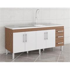 Gabinete para Cozinha Flex 80x174cm Amêndoa E Branco - MGM
