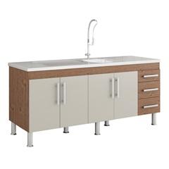 Gabinete para Cozinha Flex 80x174cm Amêndoa E Off White - MGM Móveis