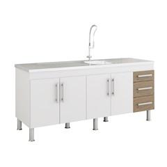 Gabinete para Cozinha Flex 80x174cm Branco E Carvalho - MGM Móveis