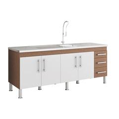 Gabinete para Cozinha Flex 80x194cm Amêndoa E Branco - MGM Móveis
