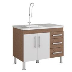 Gabinete para Cozinha Flex 80x94cm Amêndoa E Branco - MGM