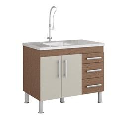 Gabinete para Cozinha Flex 80x94cm Amêndoa E Off White - MGM