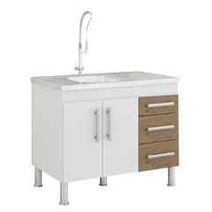 Gabinete para Cozinha Flex 80x94cm Branco E Carvalho - MGM