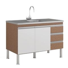 Gabinete para Cozinha Ibiza 80x114cm Amêndoa E Branco - MGM Móveis