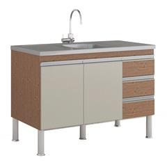 Gabinete para Cozinha Ibiza 80x114cm Amêndoa E Off White - MGM Móveis