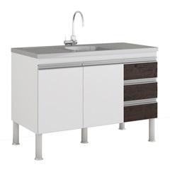 Gabinete para Cozinha Ibiza 80x114cm Branco E Café - MGM Móveis