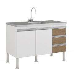 Gabinete para Cozinha Ibiza 80x114cm Branco E Carvalho - MGM Móveis