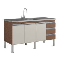 Gabinete para Cozinha Ibiza 80x144cm Amêndoa E Off White - MGM