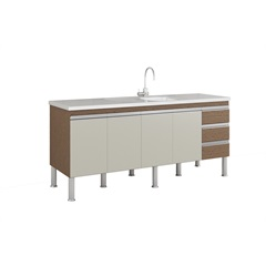 Gabinete para Cozinha Ibiza 80x174cm Amêndoa E Off White - MGM