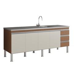 Gabinete para Cozinha Ibiza 80x194cm Amêndoa E Off White - MGM