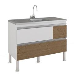 Gabinete para Cozinha Prisma 86x114cm Branco E Carvalho - MGM