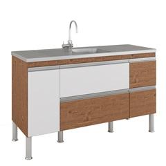 Gabinete para Cozinha Prisma 86x144cm Amêndoa E Branco - MGM