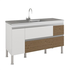 Gabinete para Cozinha Prisma 86x144cm Branco E Carvalho - MGM