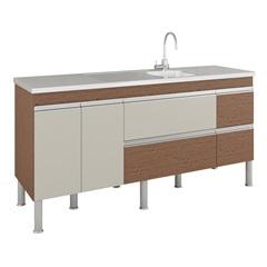 Gabinete para Cozinha Prisma 86x174cm Amêndoa E Off White - MGM