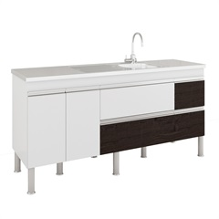 Gabinete para Cozinha Prisma 86x174cm Branco E Café - MGM
