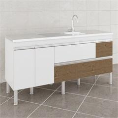 Gabinete para Cozinha Prisma 86x174cm Branco E Carvalho - MGM