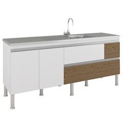 Gabinete para Cozinha Prisma 86x194cm Branco E Carvalho - MGM