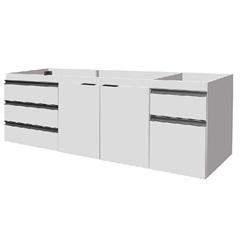 Gabinete para Pia 180cm Blu 2 Portas Branco - Bumi Móveis
