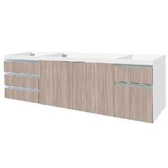 Gabinete para Pia 200cm Blu 2 Portas Branco E Marrom - Bumi Móveis